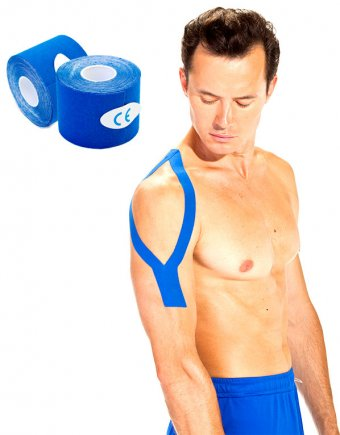 Кинезио лента 5 м*5 см, синяя (Physio Tape, dark blue)